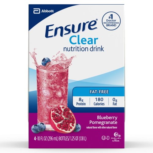 Ensure® Clear Nutrition Drink Oral Protein Supplement, Blueberry Pomegranate, 10 oz. Bottle, 12/CS
