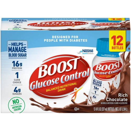Boost Glucose Control® Balanced Nutritional Drink Oral Supplement, Chocolate, 8 oz. Bottle, 12/PK