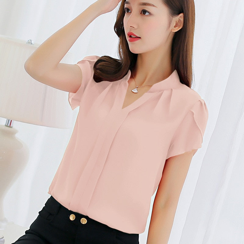 Shonlo | Women Chiffon Short Blouse Sleeve