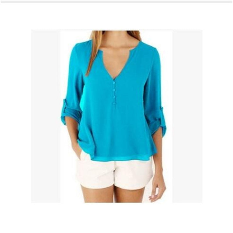 Shonlo | Female long sleeve chiffon blouse Chic Elegant