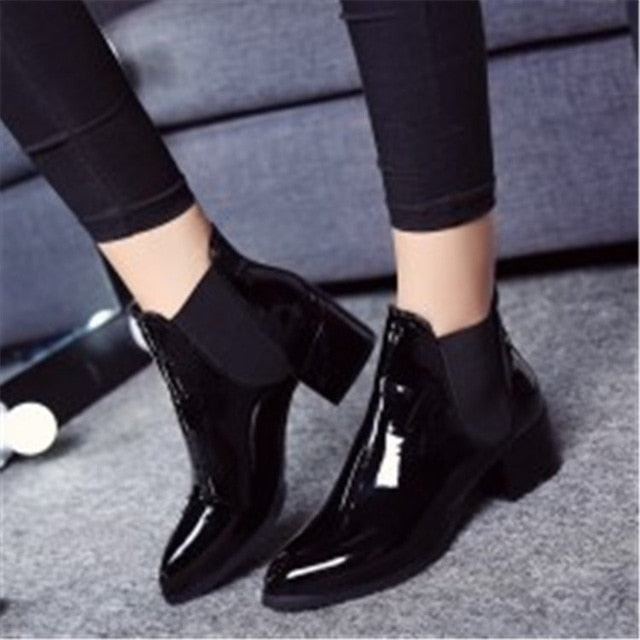 Shonlo | Leather Ankle Boots Pointed Low Heel Boots Female Sexy Shoes