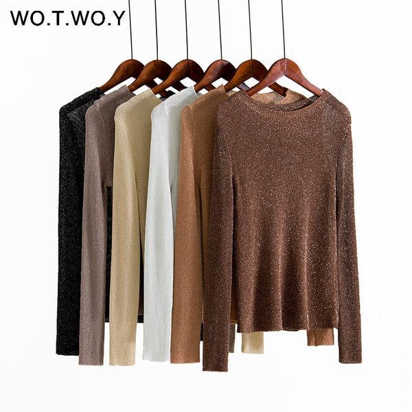 Shonlo | Autumn Winter Shiny Lurex Basic Sweaters