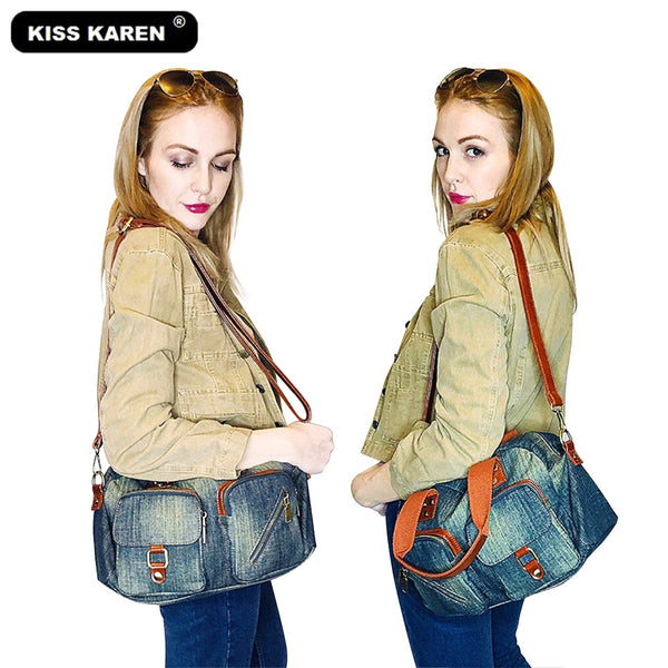 Shonlo | KISS KAREN Vintage Fashion Denim Totes Women Bag Jeans