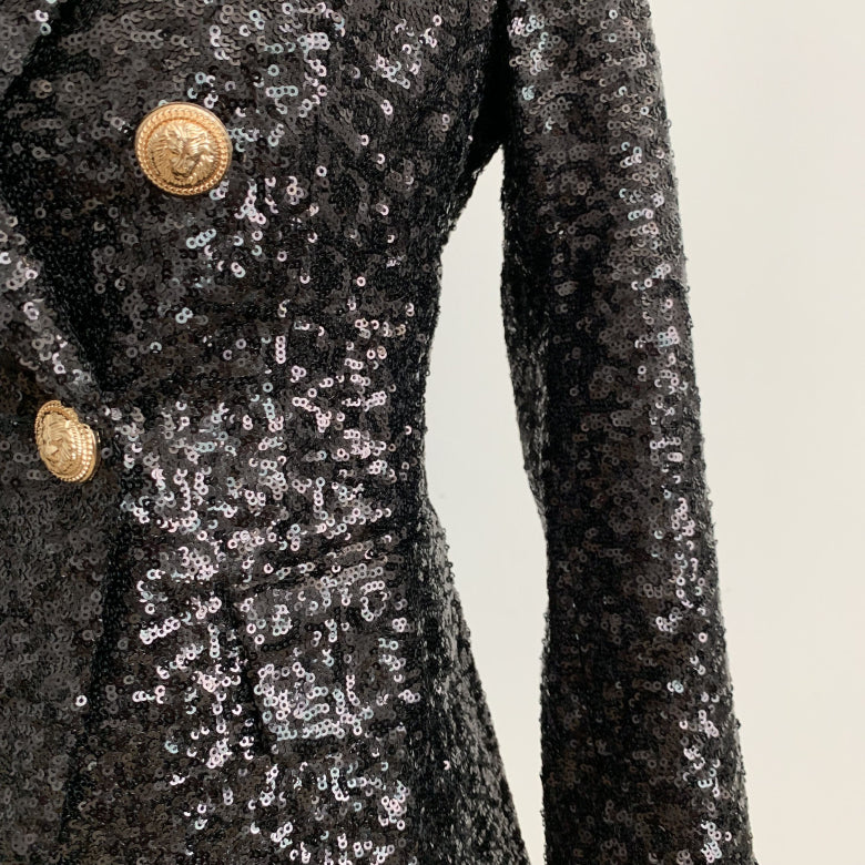 Shonlo | Double Breasted Metal Lion Buttons Sequined Glitter Blazer Jacket