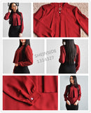 Shonlo | Burgundy Women Stand Collar Blouse