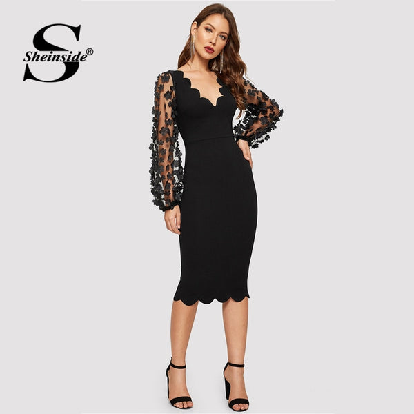 Shonlo | Black Applique Mesh Sleeve Dress