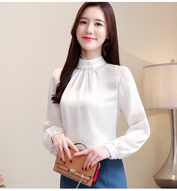 Shonlo | beading stand collar office blouse women chiffon