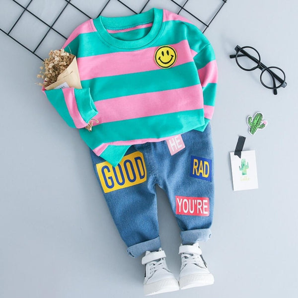 Shonlo | Suit Baby Boy Hoodie Sweater T-shirt+Jeans 2pcs Outfits Kids
