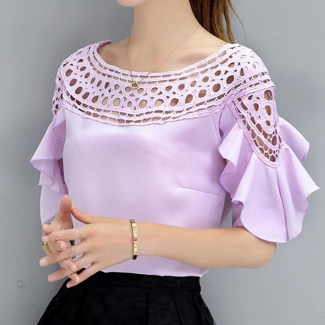 Shonlo | Chiffon Blouses Shirts Women Long Sleeve Tops