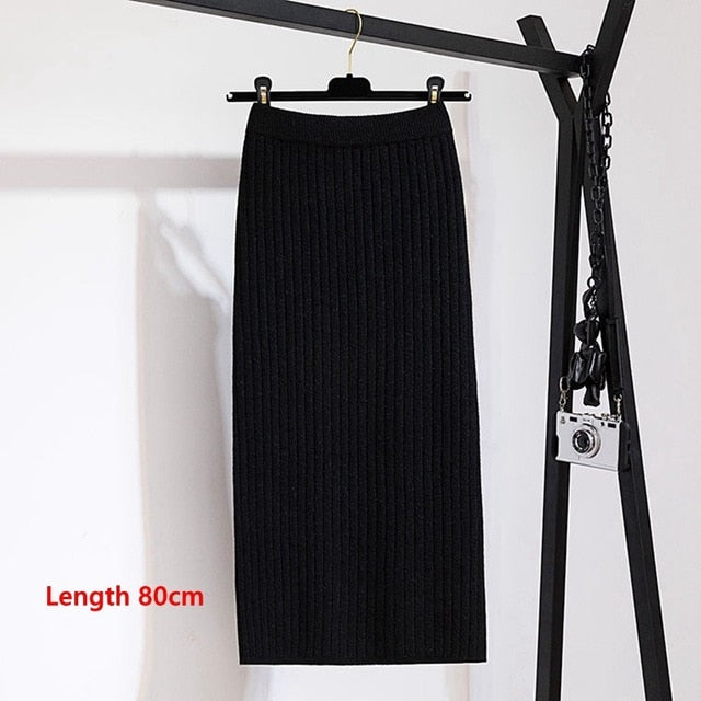 Shonlo | Warm Knitted Straight Skirt