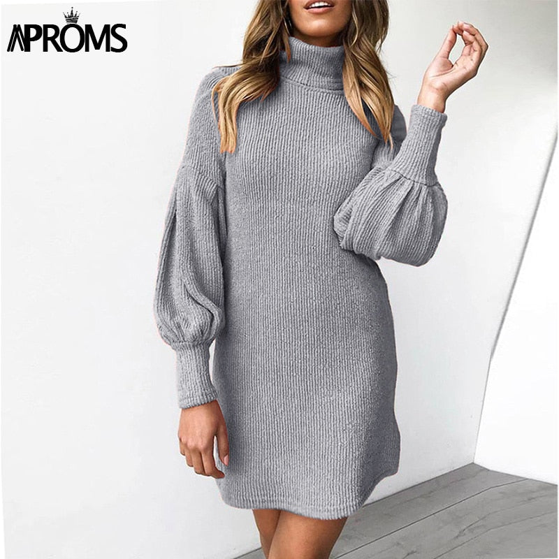 Shonlo | Aproms Elegant Turtleneck Sweater Dress