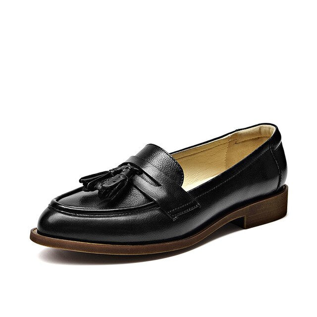 Shonlo | Loafers Women Genuine Cow Leather Tassel  shoes