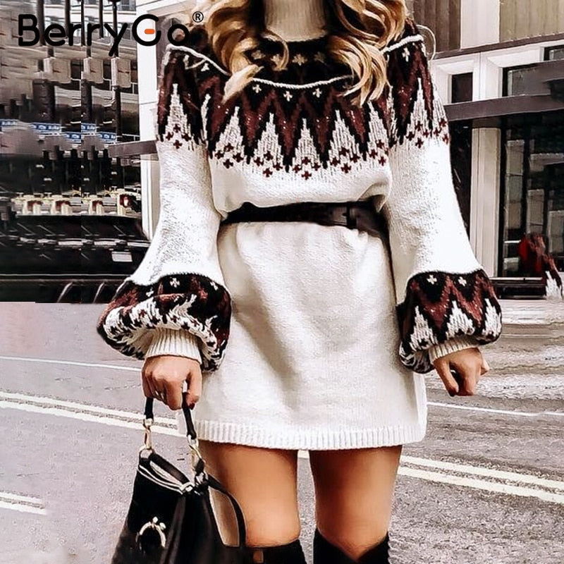 Shonlo | Geometric print knitted female dress