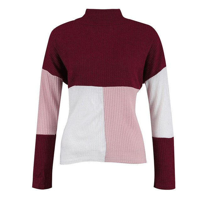 Shonlo | Women Sweater Stitching  Knitted Jumper