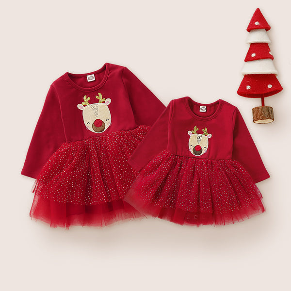 Shonlo | Lace Mesh Dress Baby Girls Family Look New Year Dresses