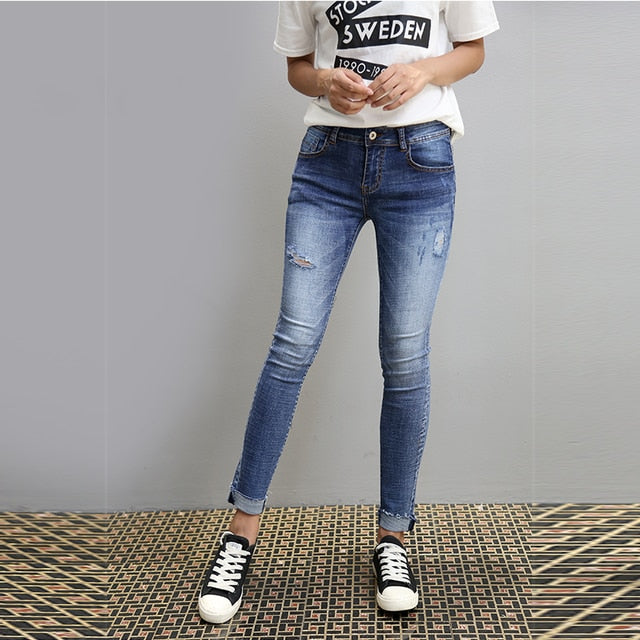 Shonlo | High Quality Distressed Skinny Wash Hole Jeans