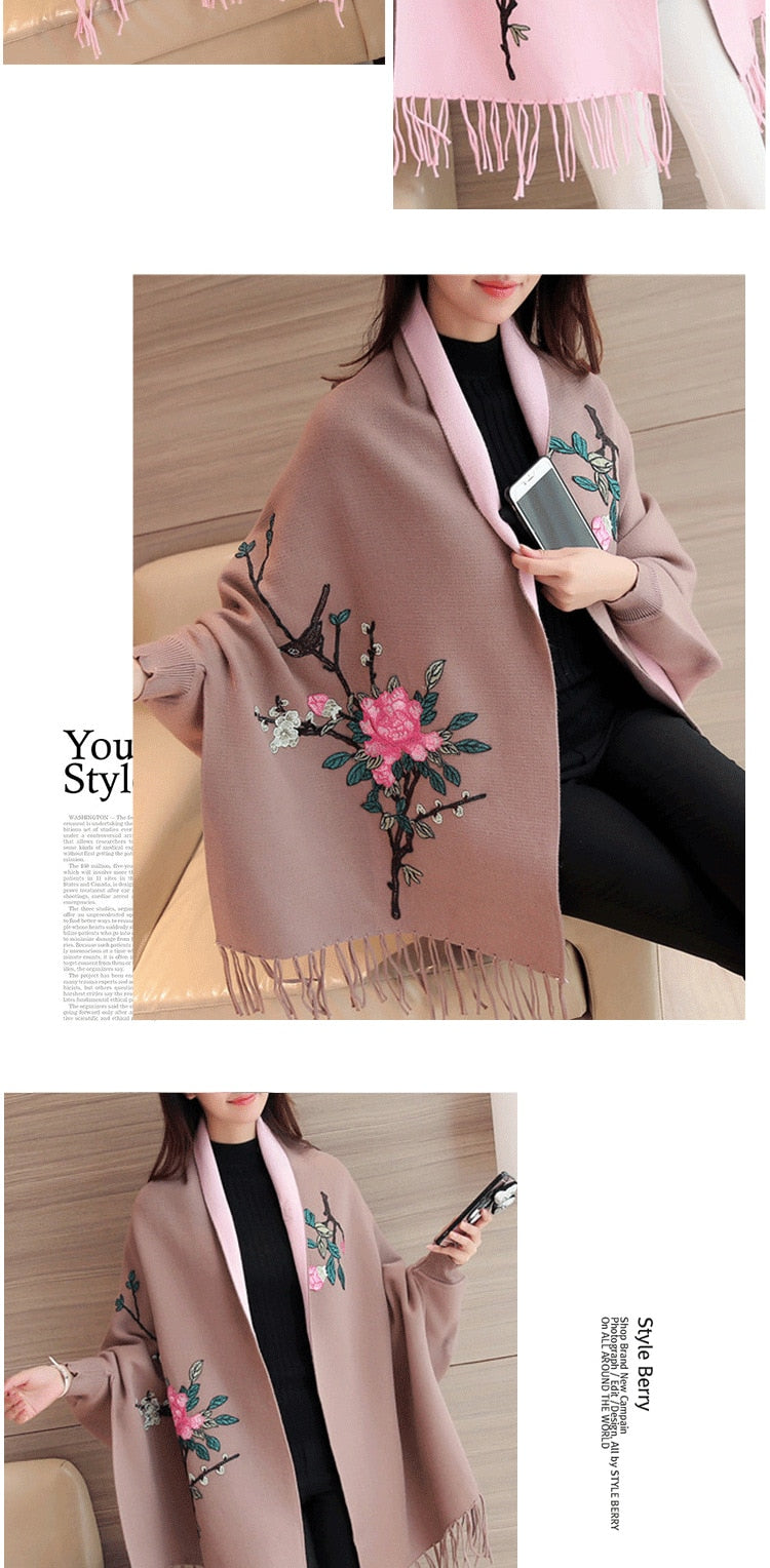 Shonlo | Embroidered Shawl WOMEN'S Sweater Cardigan