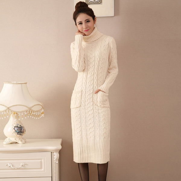Shonlo | Autumn Winter Turtleneck Sweater Dress