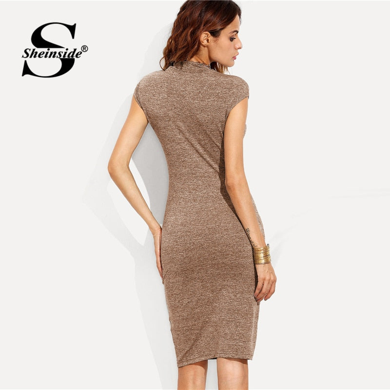 Shonlo | Plain Knit Workwear Elegant Pencil Dress