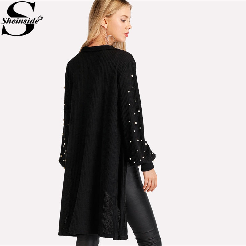 Shonlo | Pearl Beading Bishop Sleeve Cardigan