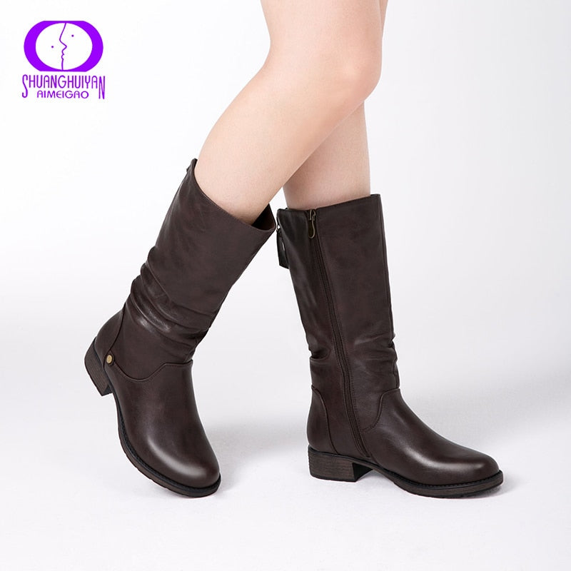 Shonlo | Winter Mid-calf Women Boots Flats Heels