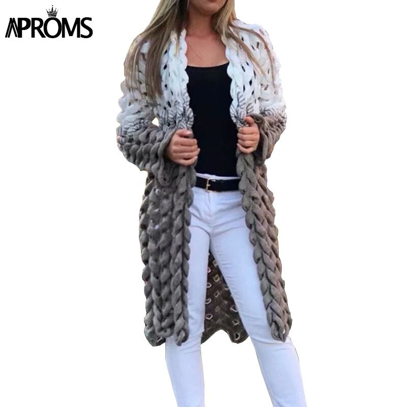 Shonlo | Aproms White Gray Patchwork Knitted Cardigan