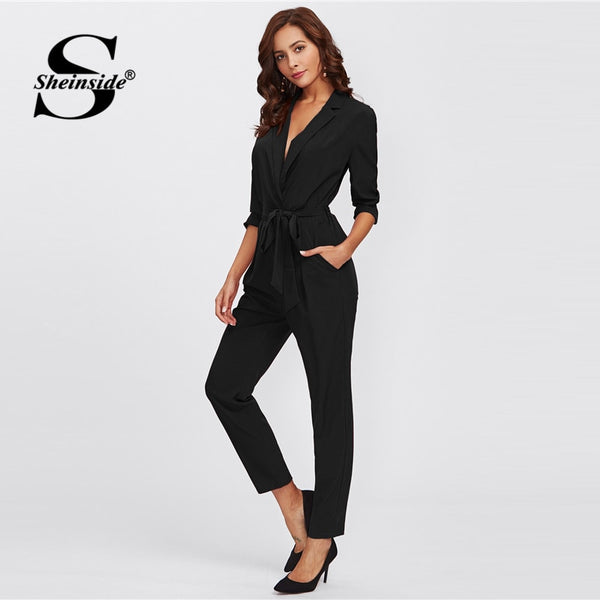 Shonlo | Black Office Ladies Workwear Jumpsuit