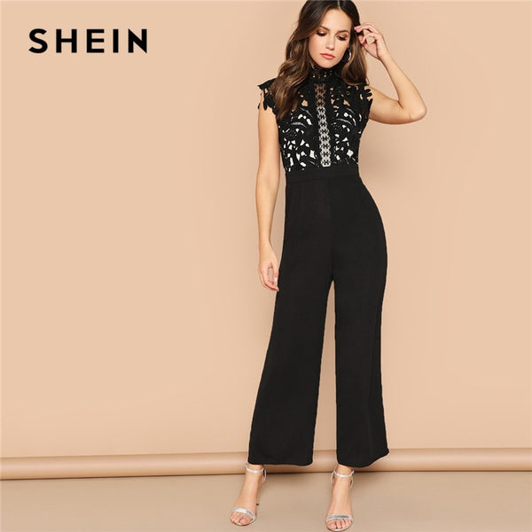 Shonlo | Black Guipure Lace Bodice Sheer Wide Leg Jumpsuit