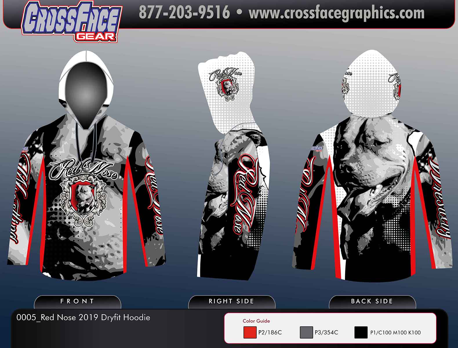 Red Nose Wrestling Full Sublimated DryFit Hoodie 2019