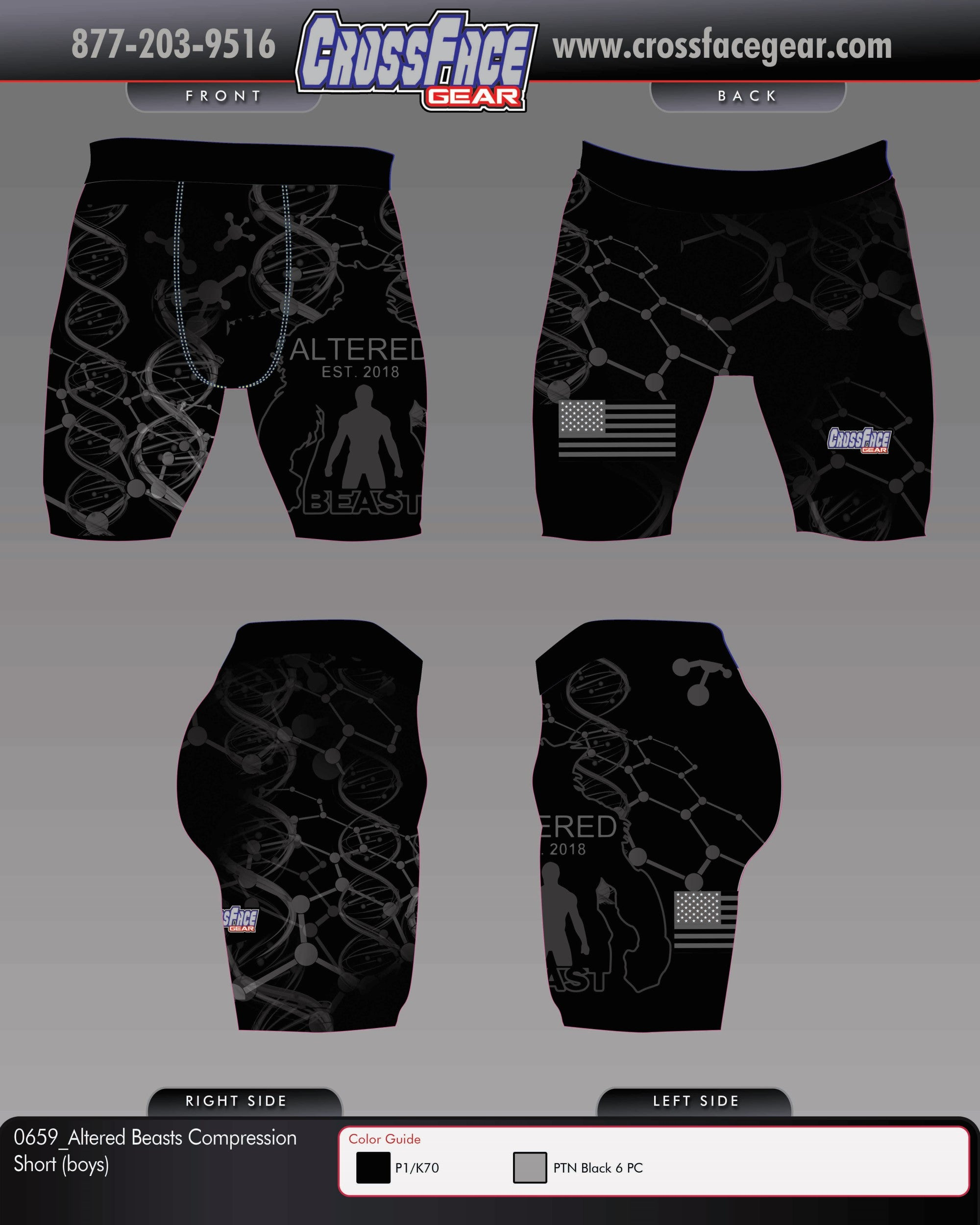 Altered Beast Full Sublimated Compression Short (BOYS)