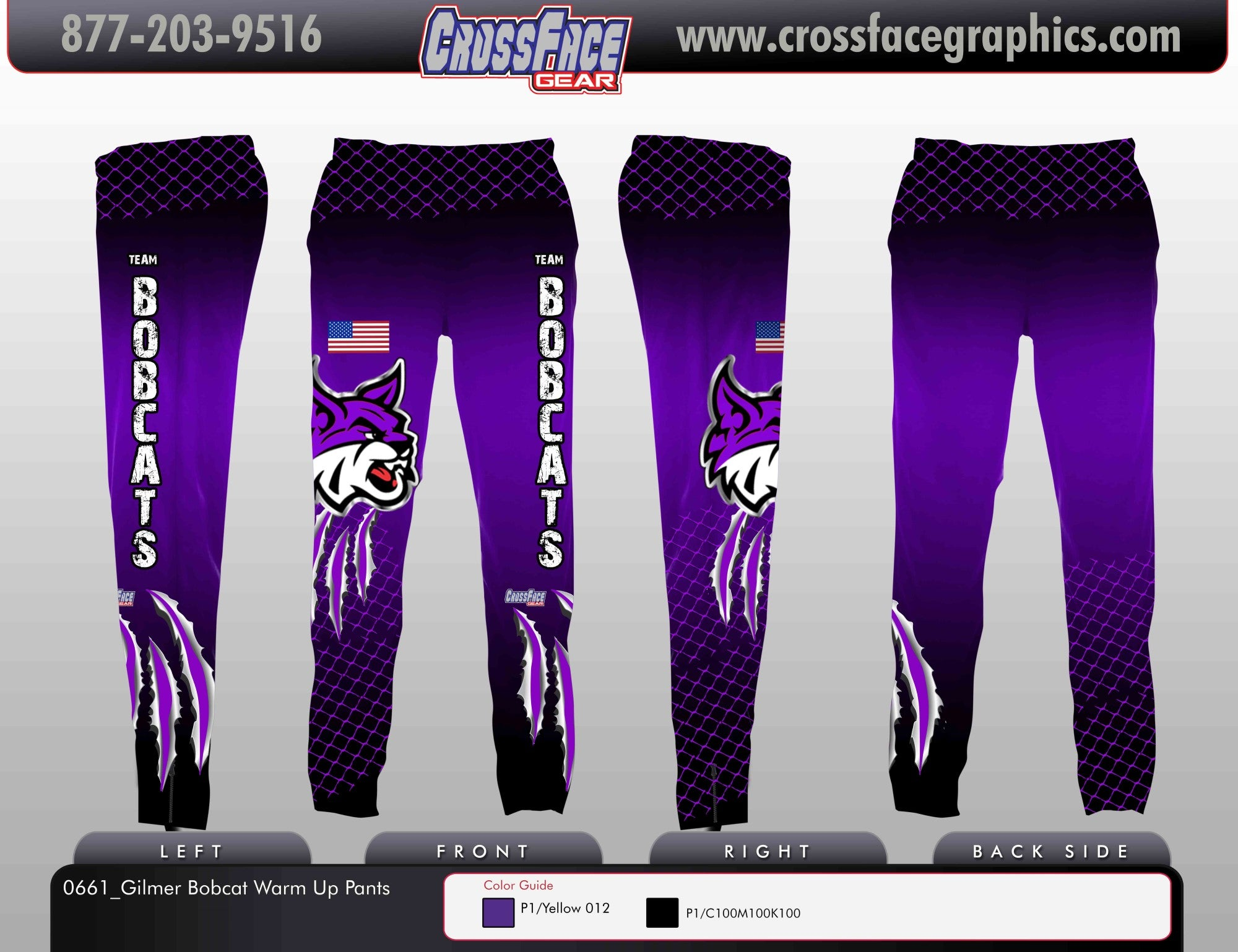 Gilmer Bobcat Full Sublimated Warm Up Pants