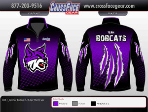 Gilmer Bobcats Full Sublimated 1/4 Zip Warm Up