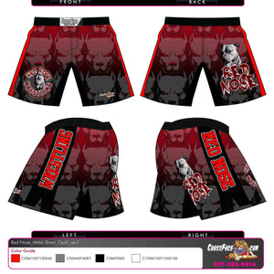 Red Nose Wrestling Full Sublimated Fight Short (RED) 2016