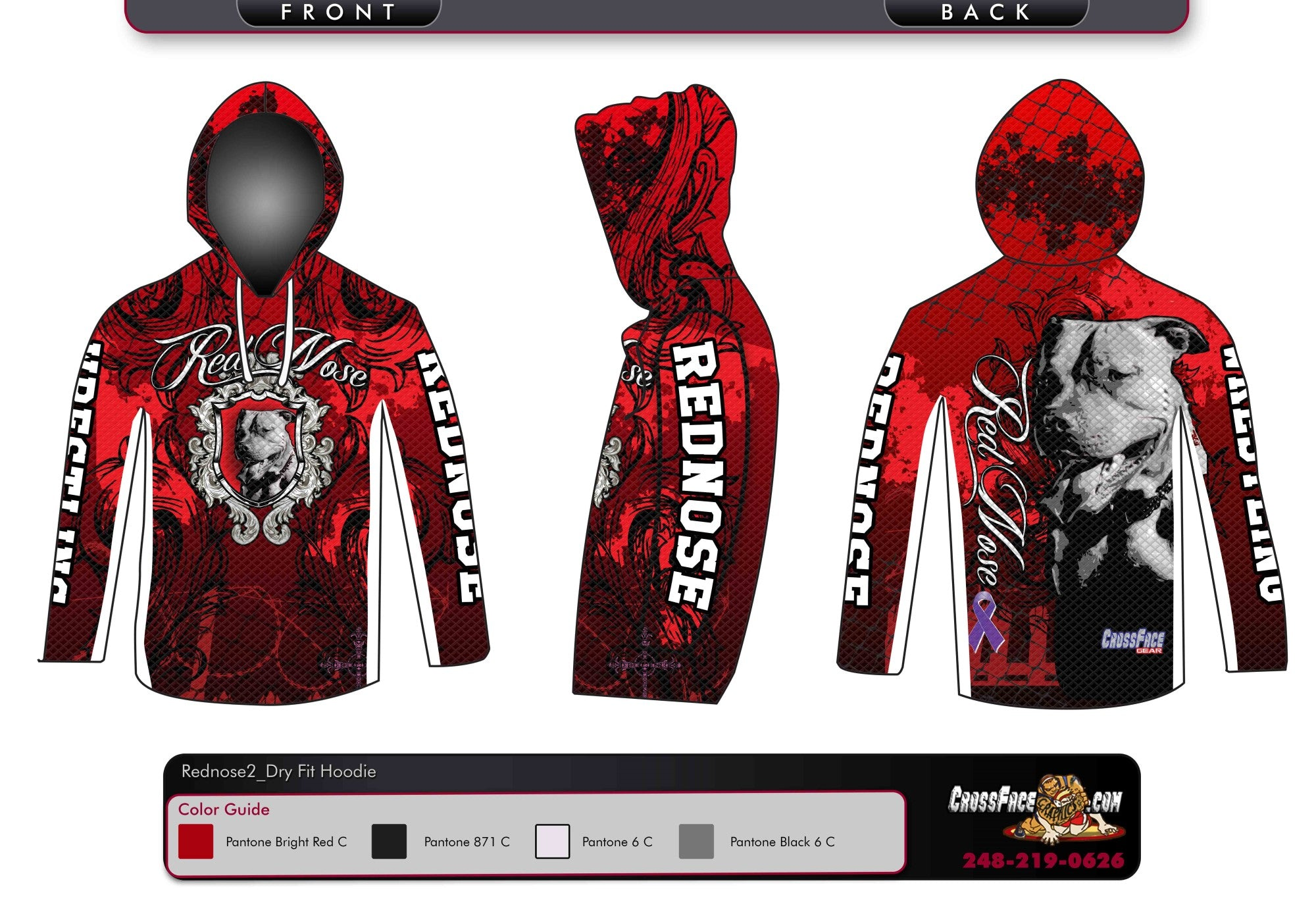 Red Nose Wrestling Full Sublimated DryFit Hoodie (Red) 2017