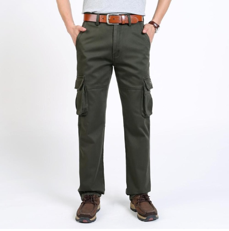 High Quality Men's Cargo Pants Winter Warm Casual Mens Pant