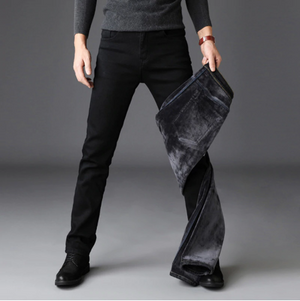 Men Fashion Winter Jeans Slim Fit Stretch Thick  Warm Jeans