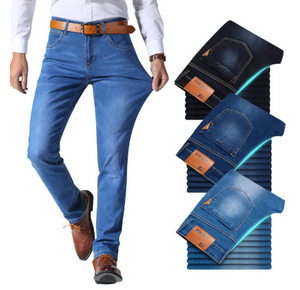 New Men's Classic Style Jeans Business Casual Stretch Slim Denim Pants Light Blue Black Trousers
