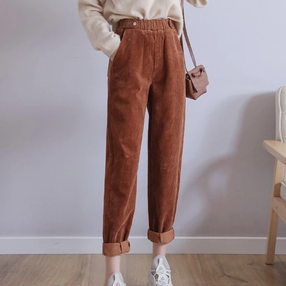 Women Harem Pants Autumn Winter Corduroy Pants