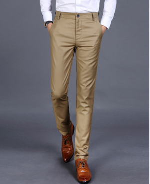 Men's Smart Casual Pants Men Slim Straight Suit Pants