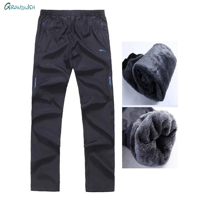 Sportwear Winter Warm pants for men Straight Thick Pants Elastic Waist Men's Fleece Pants Plus Size