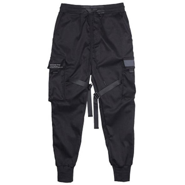 Men Ribbons Color Block Black Pocket Cargo Pants Harem Pant