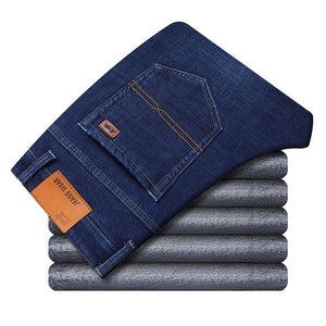 Men Winter Thermal Warm Flannel Stretch Jeans
