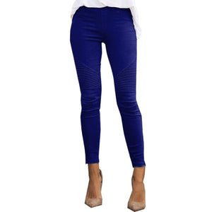 Women Jeans Blue Striped Print Leggings Slim Fitness Leggings Elastic Pants