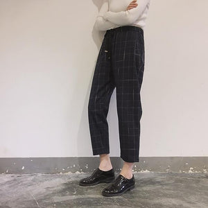New Fashion Women Pockets Plaid Loose Casual High Waist Pant