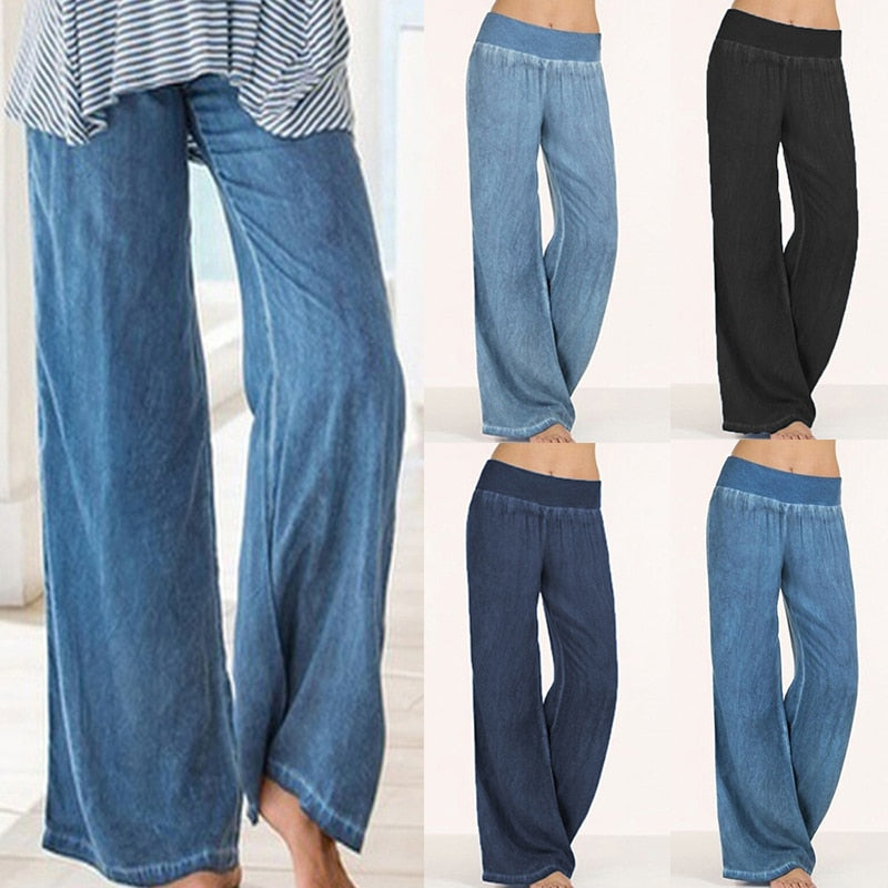 Plus Size Celmia Women Denim Wide Leg Pants Jeans Elastic High Waist Trousers