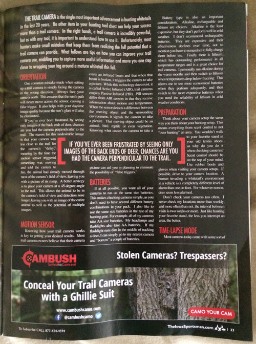 Trail Camera Tips and Tricks Article in IowaSportsman Magazine