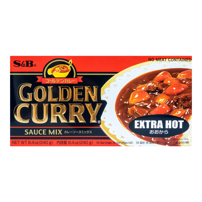 SB Golden Curry Japanese Curry Mix EXTRA HOT 6 Servings x 2 7.8oz/220g