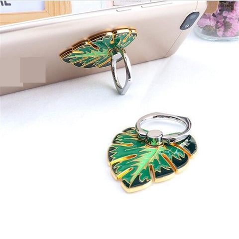 Metal Green Leaf Ring Holder For All Phones. - Zouhrphonecase