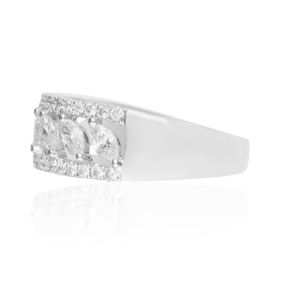 18 Karat White Gold Marquise Engagement Ring