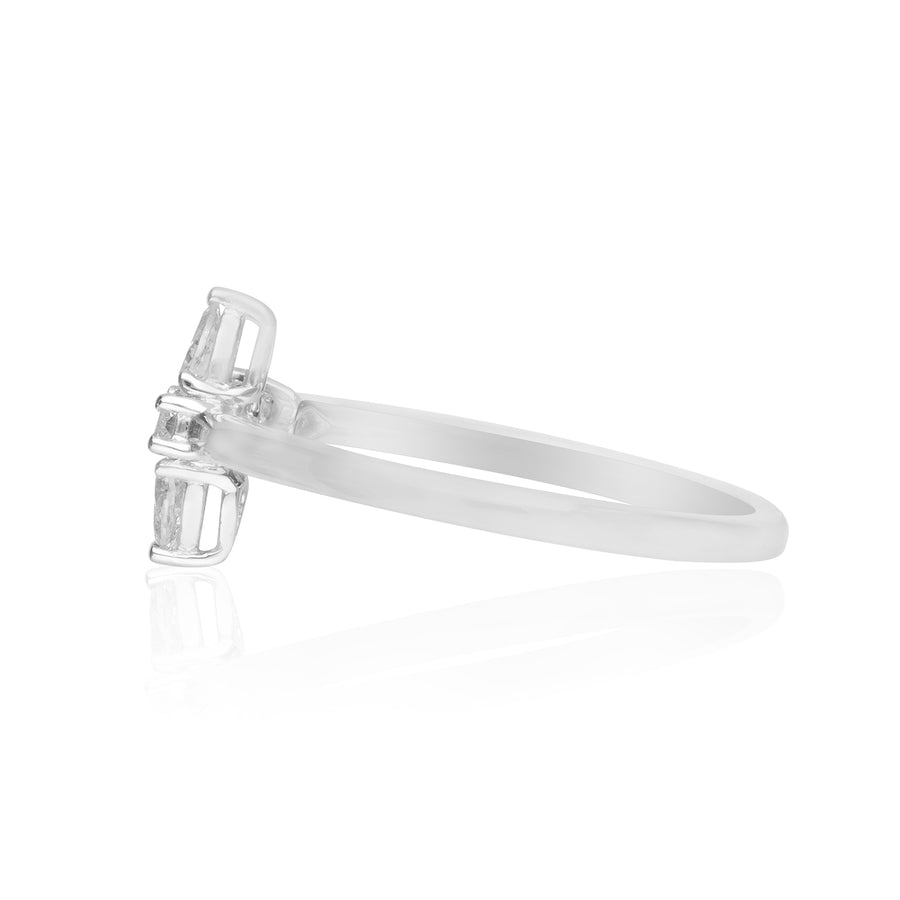 18 Karat White Gold Baguette & Pear Diamond Ring